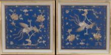 PAIR OF GOLD AND SILVER NEEDLEWORK ON SILK PANELS In the manner of rank badges depicting silver pheasant and peonies.14.25