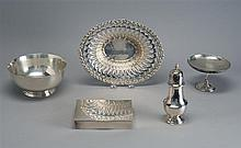 FIVE PIECES OF ENGLISH AND AMERICAN HOLLOWWARE By various makers. Includes a candy dish by Tuttle, a cigarette box, a Paul Revere-st...