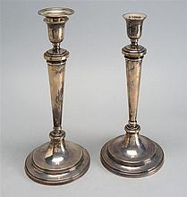PAIR OF ENGLISH STERLING SILVER WEIGHTED CANDLESTICKS Made for Tiffany & Co. Height 10¾