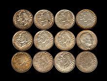 TWELVE ARKANSAS CENTENNIAL U.S. COMMEMORATIVE HALF DOLLARS Two 1935, a 1935 D, a 1935 S, two 1936, a 1936 D, a 1936 S, a 1937, a 193...