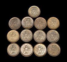 THIRTEEN TEXAS CENTENNIAL U.S. COMMEMORATIVE HALF DOLLARS Two 1934, two 1935, a 1935 D, a 1935 S, two 1936, a 1936 D, a 1936 S, a 19...