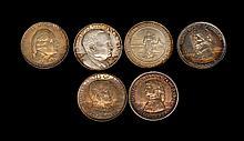 SIX U.S. COMMEMORATIVE HALF DOLLARS A 1922 Grant (no star), a 1921 Missouri Centennial (no star), a 1925 Fort Vancouver, a 1927 Verm...