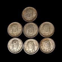 SEVEN BOOKER T. WASHINGTON MEMORIAL U.S. COMMEMORATIVE HALF DOLLARS A 1946, a 1946 D, a 1946 S, a 1947, a 1947 D, a 1948 D, and a 19...