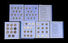 THREE BLUE BOOK COIN HOLDERS A partial large cent set, a partial Liberty standing quarter set, and a bust dime book with two coins....