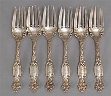 SET OF SIX STERLING SILVER DESSERT FORKS BY INTERNATIONAL SILVER COMPANY In the
