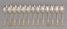 THIRTEEN STERLING SILVER TEASPOONS BY TOWLE MFG. CO. In the