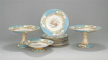 PARTIAL SÈVRES-TYPE PORCELAIN DESSERT SERVICE In the 18th Century style. Each piece with central hand-painted bouquet of flowers and...