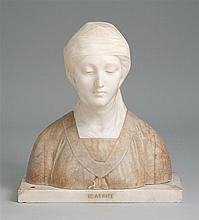 TINTED ALABASTER BUST OF