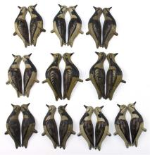 SET OF TEN TIN RUDDY TURNSTONE DECOYS By Strater & Sohier Decoys Company of Boston. Eight matching and two slightly differing. Some...