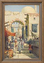 ARTHUR VIDAL DIEHL, Massachusetts/New York/England, 1870-1929, Middle Eastern street scene., Oil on board 33.5
