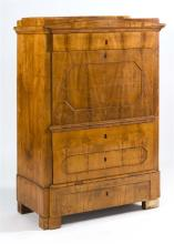 BIEDERMEIER-STYLE SECRÉTAIRE À ABATTANT In elm and walnut veneer. Full-width drawer over a central fall-front writing surface over t...