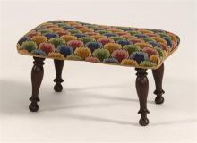 FOOTSTOOL WITH FLAME STITCH UPHOLSTERY Rectangular over-upholstered top on four turned and splayed legs. Height 10