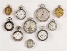 TEN ASSORTED WATCHES With silver- and gold-filled cases.