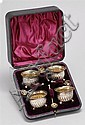 CASED SET OF ENGLISH SILVER OPEN SALTS AND SPOONS With swirl rib design supported on three ball feet. Maker's mark