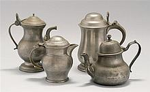 FOUR SELECT PEWTER ITEMS Includes a Queen Anne teapot, a dome-top lidded creamer, a dome-top lidded tankard by Hale & Sons of London...