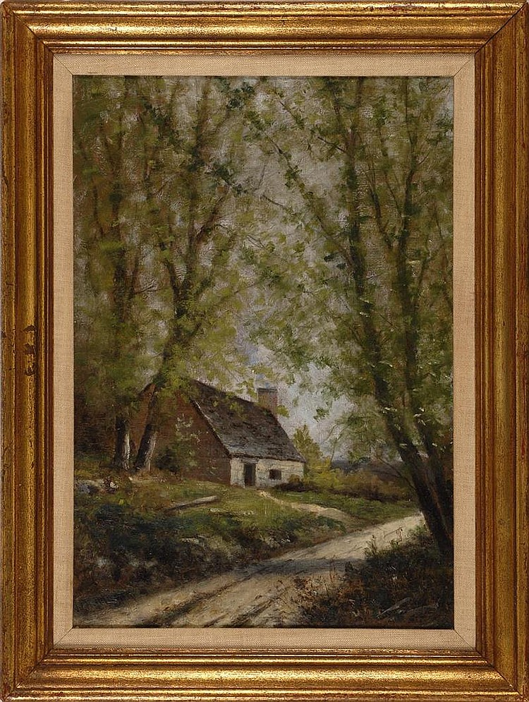 WILLIAM HENRY HILLARD, American, 1863-1905, House along a wooded path., Oil on canvas, 20