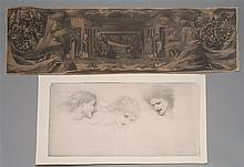 UNFRAMED PRINT AFTER EDWARD COLEY BURNE-JONES Study for The Masque of Cupid featuring Heads of Despight, Cruelty and Dame Amoret (18...