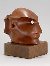 ATTRIBUTED TO ELIZABETH CATLETT, American, 1915-2012, A head., Wood sculpture, height exclusive of base 5.75