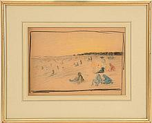 ATTRIBUTED TO REYNOLDS BEAL, American, 1866-1951, Crayon sketch of a beach scene with figures., On paper, 8.75