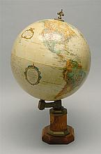 GLOBE ON STAND Made by Replogle Globes. Wood and brass stand. Height 20
