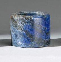 LAPIS LAZULI ARCHER'S RING In cylinder form in a rich blue color. Ex Miramar Collection, Geneva.