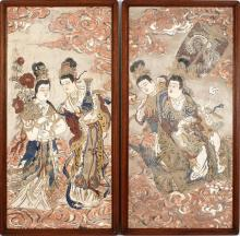 PAIR OF PAINTED FRESCOES In Song style. Depicting heavenly maidens with swirling clouds; one seated in a wheeled cart. 42