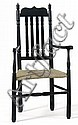 ANTIQUE AMERICAN SPLIT BALUSTER-BACK ARMCHAIR Painted black.