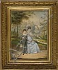 FRAMED WATERCOLOR A lady dressed in blue and a young boy seated by a winding garden path. Unsigned. Watercolor on paper, 15