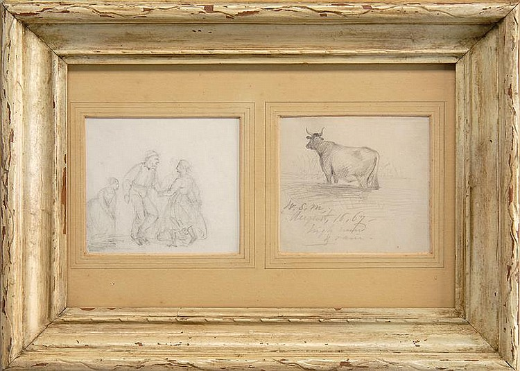 WILLIAM SIDNEY MOUNT, American, 1807-1868, Pair of framed sketches:, Pencils on paper, 3.5