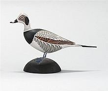 MINIATURE OLD SQUAW DRAKE By James Lapham of Dennisport, Massachusetts. Signed on underside of round wooden base.
