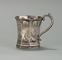 EARLY COIN SILVER CHILD'S MUG In octagonal form with repoussé floral design. Engraved