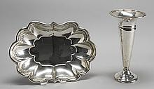 REED & BARTON STERLING SILVER OVAL VEGETABLE BOWL Together with a weighted trumpet vase by Redlich & Co. Bowl in the