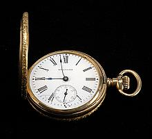 14KT GOLD WALTHAM POCKET WATCH In hunter case. Seventeen-jewel movement. Diameter 1.5