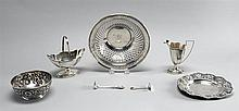 SEVEN PIECES OF AMERICAN SILVER HOLLOWWARE AND FLATWARE A child's bowl and plate in the