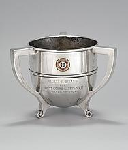 N.G. WOOD & SONS THREE-HANDLED STERLING SILVER TROPHY Mounted with emblem of the First Corp of Cadets of Massachusetts. Inscribed