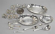TWENTY PIECES OF STERLING SILVER HOLLOWWARE AND FLATWARE By various makers. Approx. 47.4 troy oz. weighable