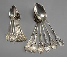 FOURTEEN STERLING SILVER SPOONS BY JOHN POLHAMUS Six tablespoons and eight teaspoons in the