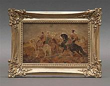 MINIATURE PAINTING OF ARABIAN WARRIORS After Adolph Schreyer (France/Germany, 1828-1899). Unsigned. Oil on panel, 3.5