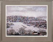 MAXWELL MAYS, American, 1918-2009, Providence Harbor., Color lithograph on paper, 22