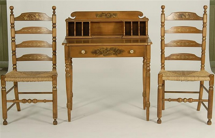 HITCHCOCK MANUFACTURING CO. WRITING DESK AND TWO LADDERBACK CHAIRS. All with stenciled decoration. Height of desk 39