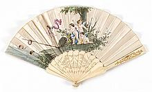 SATIN AND BONE FOLDING FAN White satin leaf painted with a scene of six putti: three watch from the shore as two swim in a river, an...