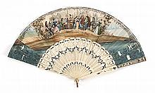 PAPER AND BONE FOLDING FAN Double-sided leaf lithographed on one side with a scene of a landowner seated at a desk in a garden surro...