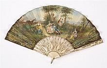 FRENCH DOUBLE-SIDED PARCHMENT AND BONE FOLDING FAN Front of leaf painted with a scene of two couples in a forest glade with two maid...