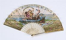 PAPER AND METAL FOLDING FAN Lithographed leaf illustrates a classical scene with two women floating in a shell-form boat accompanied...