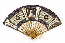 VELLUM AND SHELL FOLDING FAN Three classical vignettes of medieval women interspersed with other classical symbols on front leaf; re...