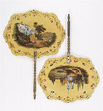 PAIR OF PAPIER-MÂCHÉ AND MOTHER-OF-PEARL HAND SCREENS In yellow paint, decorated with Continental scenes; one of a villa and one of...