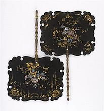 PAIR OF PAPIER-MÂCHÉ AND MOTHER-OF-PEARL FIXED HAND SCREENS Flowers and leaves in mother-of-pearl are highlighted with leaves and vi...