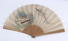 LINEN AND WOOD FOLDING FAN Shear beige linen leaf painted with a scene of birds on a fence and a flowering branch. Wood sticks and g...