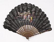 SILK, LACE AND WOOD FONTAGE FAN Black silk leaf painted with a bullfight scene topped with black lace and gold-colored sequins. Serp...