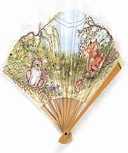 JUDITH ELLIOTT'S PAPER AND WOOD FONTAGE FOLDING FAN An adorable scene on the leaf of two fox kits, a field mouse, a bunny, and a but..